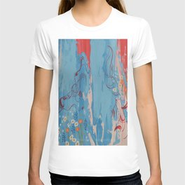 Red and Blue Abstract Flower Field Painting by Jodi Tomer. T-shirt