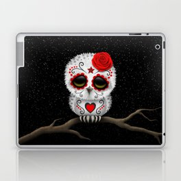 Adorable Red Day of the Dead Sugar Skull Owl Laptop & iPad Skin