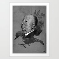 hitchcock Art Prints featuring Hitchcock by Arnaud Gomet