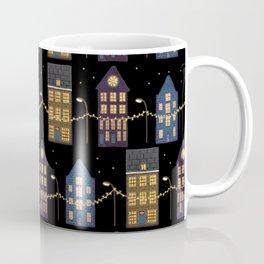 A row of illuminated houses pattern design Coffee Mug