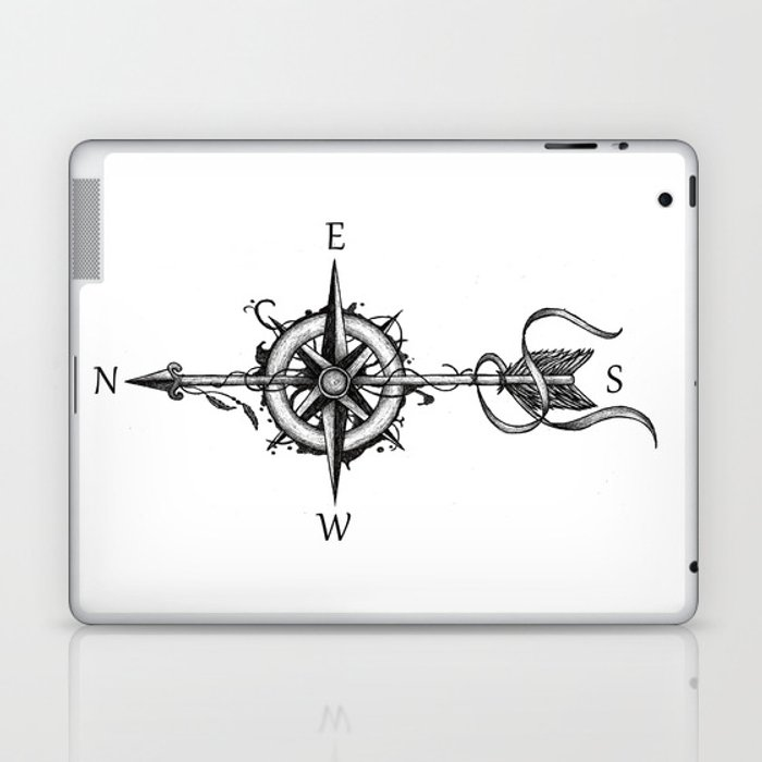 Compass With Arrow Tattoo Stule Laptop Ipad Skin By Beatrizxe