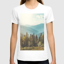 Peaceful landscape, mountains and blue sky background.  T-shirt