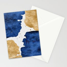 Gold and Navy Blue paint Stationery Cards