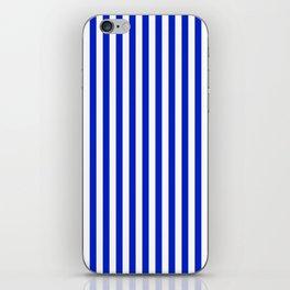 Cobalt Blue and White Vertical Deck Chair Stripe iPhone Skin
