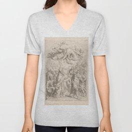 Vintage Print - Giuseppe Mitelli - Atilla the Hun Takes Rome (1690s) Unisex V-Neck