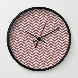 Pink and brown chevron Wall Clock