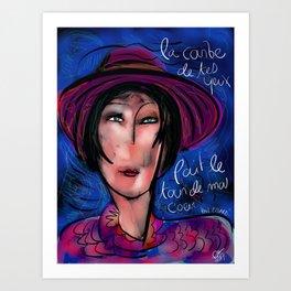 La courbe de tes yeux portrait painting retro Art Print