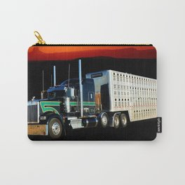 18 Wheeler Semi Truck With Cattle Hauling Trailer and Sunset Carry-All Pouch