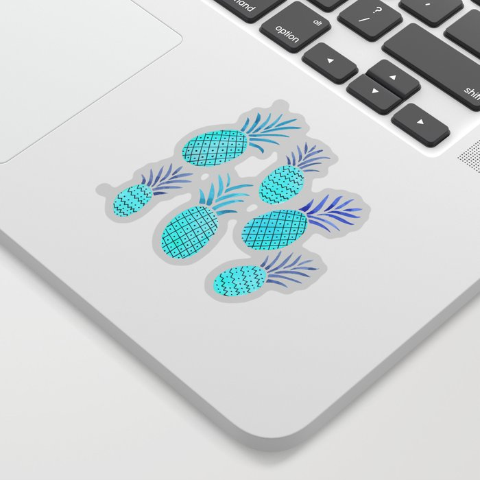 Pineapple Watercolor Illustration in Blue Sticker
