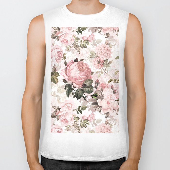 Vintage & Shabby Chic - Sepia Pink Roses Biker Tank