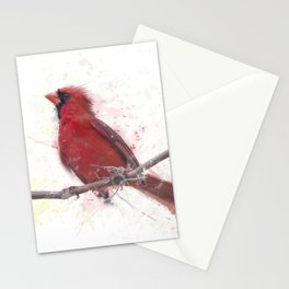 Digital Painting Of Male Northern Cardinal Stationery Cards