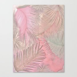 pink pastel leaves and feathers botanical print Canvas Print