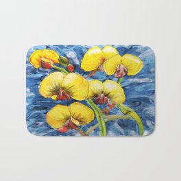 Bacon & Eggs Abstract Flower Painting Bath Mat