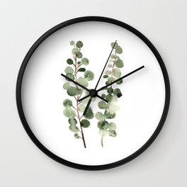 Eucalyptus (watercolor finger painting) Wall Clock