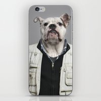 english bulldog iPhone & iPod Skins featuring English Bulldog Worker by Life on White Creative