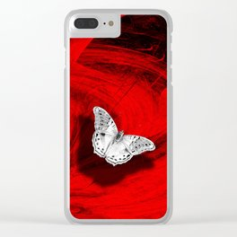 Silver butterfly emerging from the red depths Clear iPhone Case