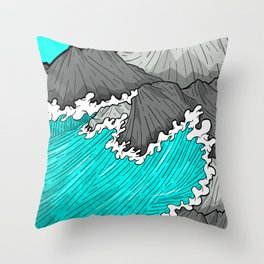 The Rocks And The Sea Throw Pillow