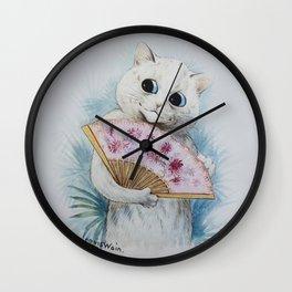 Louis Wain's Feline Temptress With Fan Wall Clock