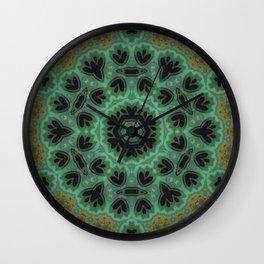 Blackberries // Mandala Emerald Green Indigo Kaleidoscope Circle Visionary Art Hippy Boho Gypsy Soul Wall Clock