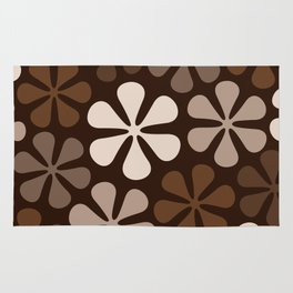 Abstract Flowers Browns & Creams Rug
