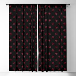 Crimson Red on Black Snowflakes Blackout Curtain