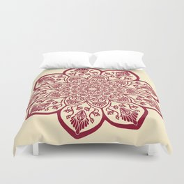 Burgundy & Cream Mandala Duvet Cover
