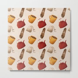 Brown Fall Style Tea and Coffee Metal Print
