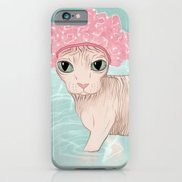 No Hair Don't Care - Sphynx Cat Wearing a Shower Cap in a Bathtub - Wrinkly Hairless Kitty iPhone Case