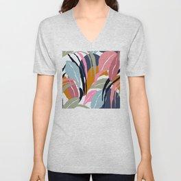 Tropical Leaves In Contemporary Modern Art Designs Unisex V-Neck
