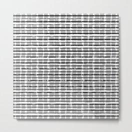 Black and White Distressed Plaid Metal Print