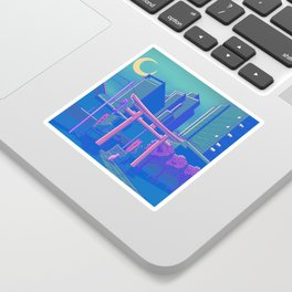 Neon Moon Sticker