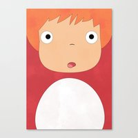studio ghibli Canvas Prints featuring Studio Ghibli - Ponyo by Teacuppiranha