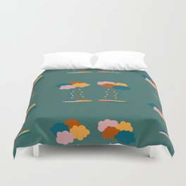 Colorful clouds and rain drops pattern Duvet Cover