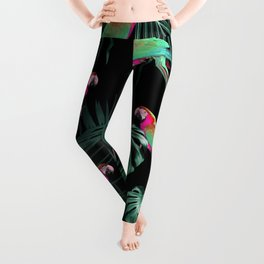 Parrots in the Tropical Jungle Night #1 #tropical #decor #art #society6 Leggings
