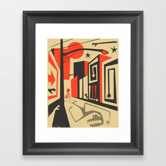 Little Red, Big City Framed Art Print