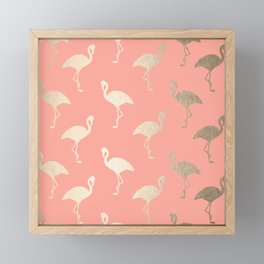 Gold Flamingo Pattern Coral Pink Framed Mini Art Print
