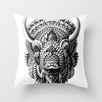bison Throw Pillows featuring Bison by BIOWORKZ