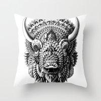 bioworkz Throw Pillows featuring Bison by BIOWORKZ