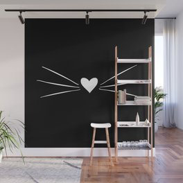 Cat Heart Nose & Whiskers White on Black Wall Mural
