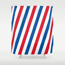 Blue, white and red stripes pattern Shower Curtain