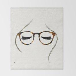Tortoiseshell Glasses Brunette Throw Blanket