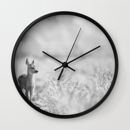 Baby Deer (Black and White) Wall Clock