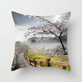 Japanese Cherry Landscape Throw Pillow