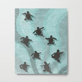 Loggerhead sea turtle hatchlings Metal Print