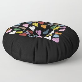Distressed Hearts Heart Black Floor Pillow