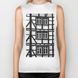 Black and white medieval street scene Biker Tank
