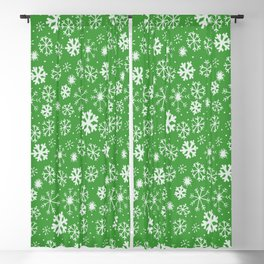 Snowflake Snowstorm With Emerald Green Background Blackout Curtain