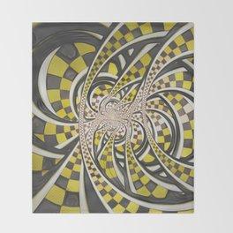 Liquid Taxi Cab, a Yellow Checkered Retro Fractal Throw Blanket