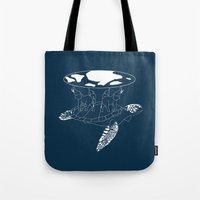 discworld Tote Bags featuring Discworld by Rebecca McGoran