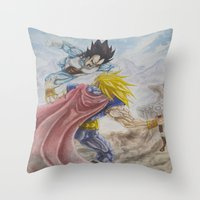 vegeta Throw Pillows featuring Vegeta V Thor by Kame Nico